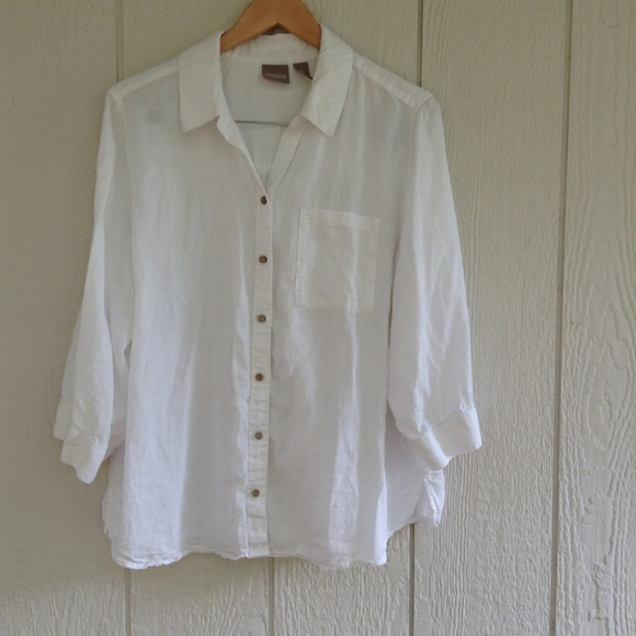 ae78f3b2f Chico's Tops | Chicos White Button Down Long Sleeve Shirt Size L ...